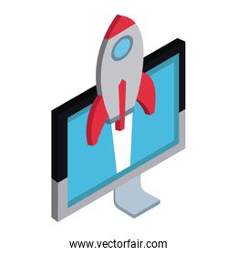 Spaceship in pc screen start up 3d