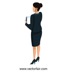 Business woman back view 3d
