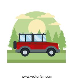 Off road sport truck In the forest