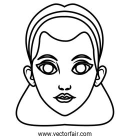Beautiful woman face cartoon