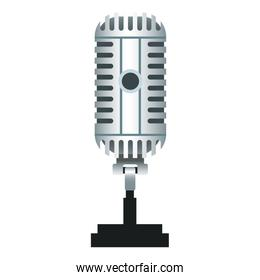 Vintage microphone isolated realistic icon