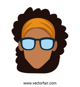Faceless woman with glasses
