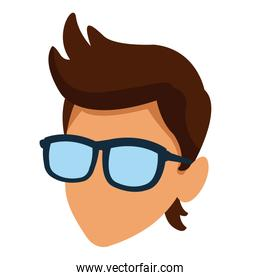 Faceless man with glasses