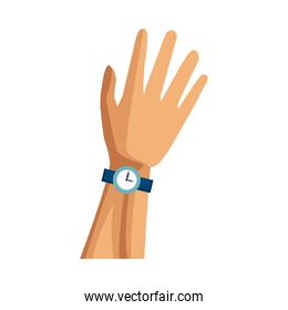 Hand with wristwatch over white