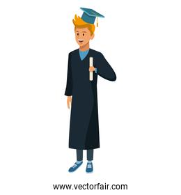 Young man student with graduation gown