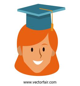 Student woman with graduation hat