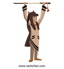 American indian with bear skin and stick
