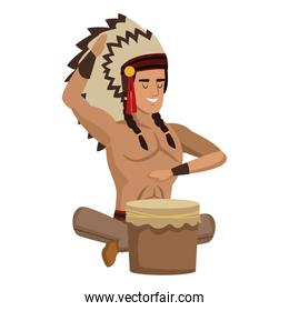 American indian with drum