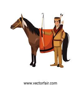 American indian with horse