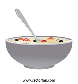 Cereal and milk bowl