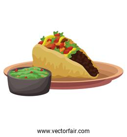 Taco mexican food with chilli design