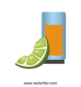 Tequila shot with lemon