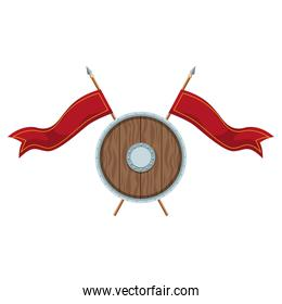 wooden round shield with pennants
