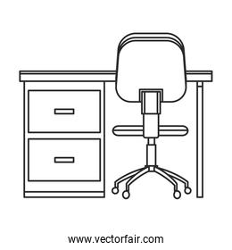 desk and chair office work outline