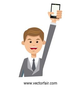 character man young suit tie and holding smartphone