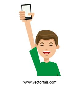 character man young holding smartphone smiling