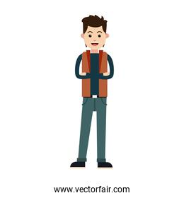 character young man male cross arm casual