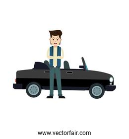 character young man sport car standing