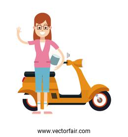 character woman with glasses and yellow scooter