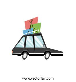 cartoon car with packages roof travel