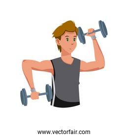 fitness man with barbell workout