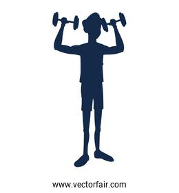 silhouette fitness man weight lifting workout