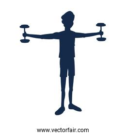 silhouette fitness man holding dumbbell workout