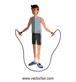 character man sport jumping rope fitness