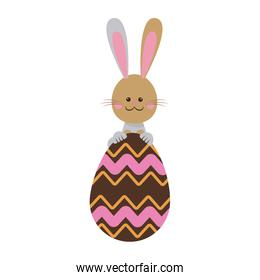 cute easter bunny with chocolate egg celebration