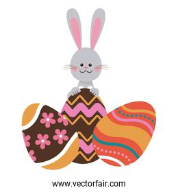 cute easter bunny with colored eggs decorative