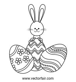 easter rabbit with eggs decoration adorable line