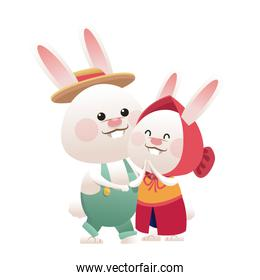 lovely couple easter bunny together