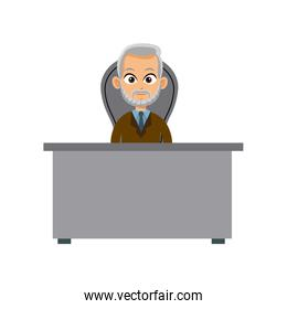 character doctor sitting desk and chair