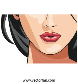 cheerful young woman mouth lips makeup image