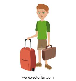 tourist man journey with baggage