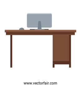 wooden desk with computer workspace office