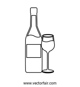 wine bottle and wineglass line icon on white background