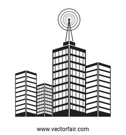 antenna on building city broadcast business