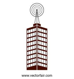 antenna, telecommunications tower on a roof, wireless communications concept.