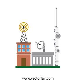 broadcasting building dish antenna tower wireless