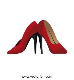 Red high heel shoes isolated on white background