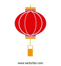traditional chinese lantern in a flat style, icon isolation on a white background
