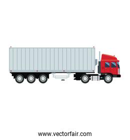 cargo delivery truck with cargo container shipping design, vector illustration