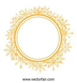 christmas wreath with golden snow flakes frame for xmas