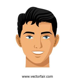 young man face, isolated on white background. handsome boy face expression. cartoon vector illustration