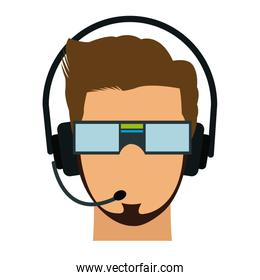 man in virtual reality headset. gaming cyber technologies. vr technology. cartoon virtual reality concept. vector illustration.