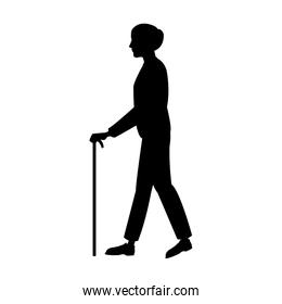 elderly people with cane walking silhouette