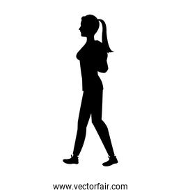 silhouette girl ponytail with package