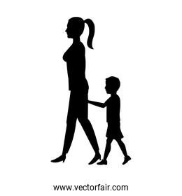 silhouette woman and her son walking holding hand