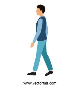 character man walking blue clothes